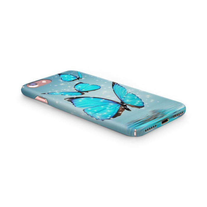 Husa iPhone 7 Custom Hard Case Blue Butterflys 1
