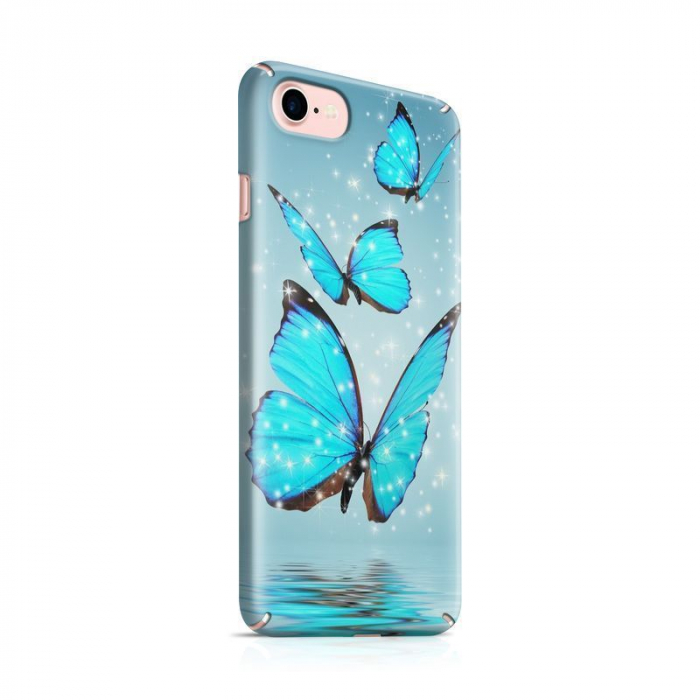 Husa iPhone 7 Custom Hard Case Blue Butterflys 0