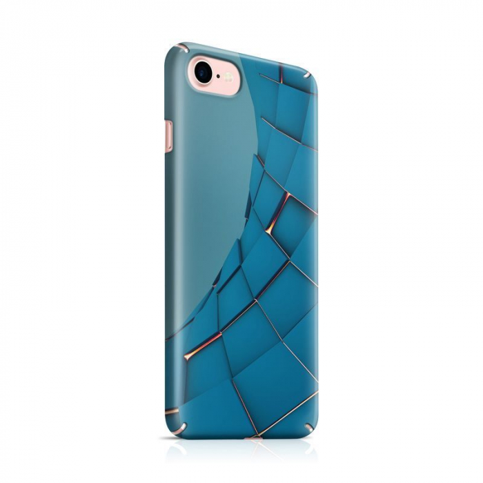 Husa iPhone 7 Custom Hard Case Blue Squares 0
