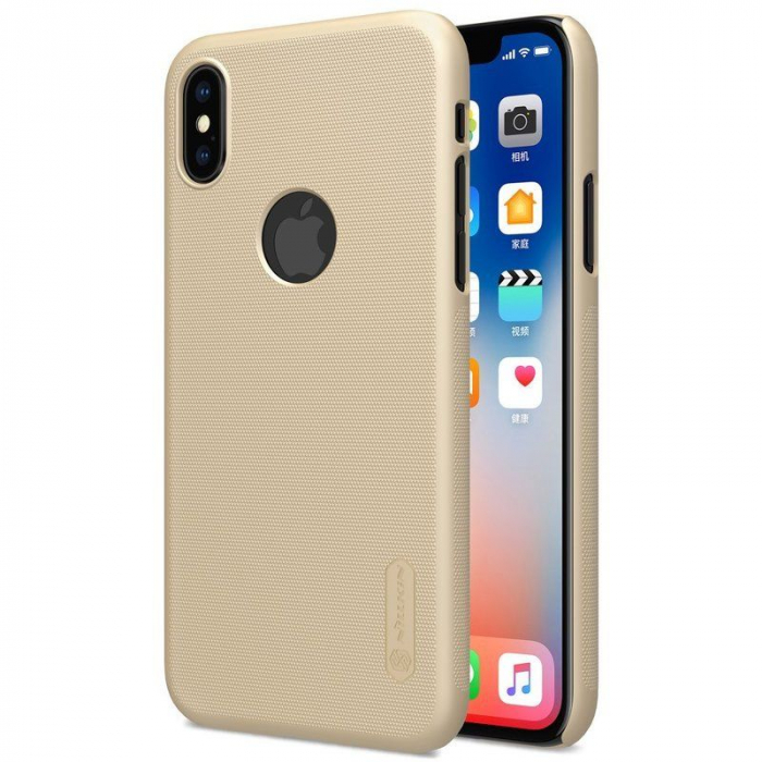 Husa iPhone X Nillkin Frosted Shield - gold 0