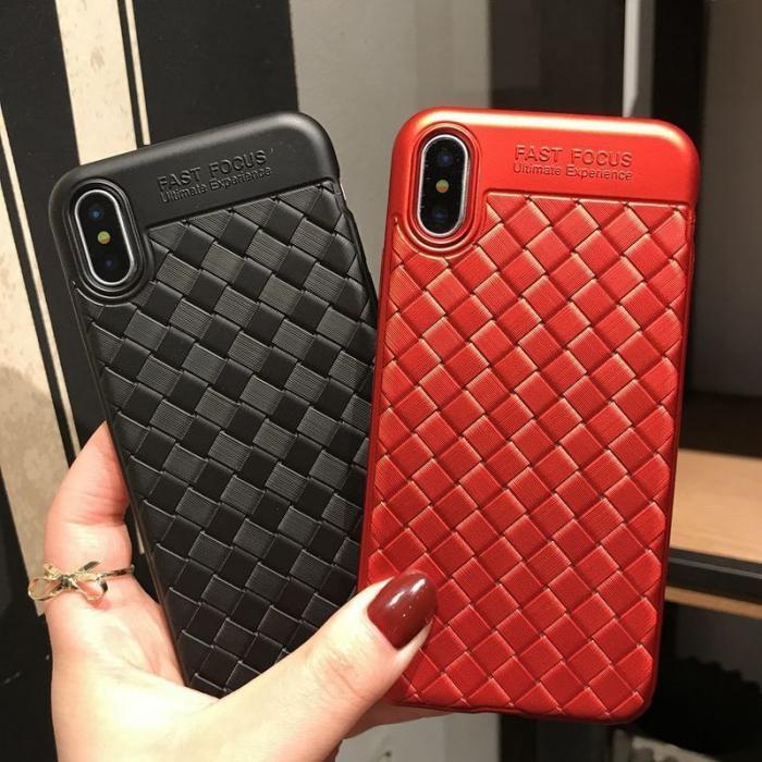 Husa iPhone X Weaving Pattern TPU  - negru 4