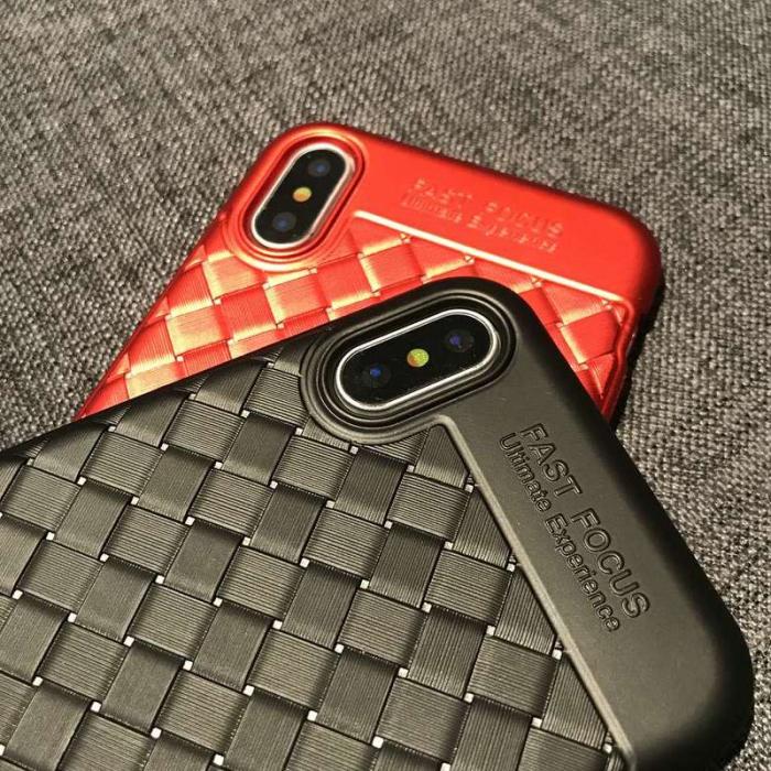 Husa iPhone X Weaving Pattern TPU  - negru 5