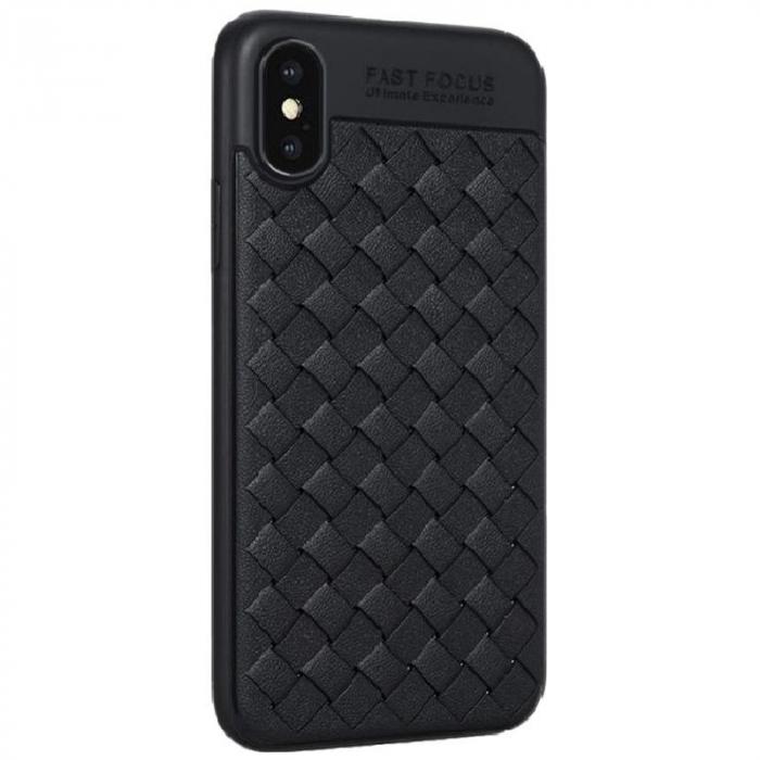 Husa iPhone X Weaving Pattern TPU  - negru 0