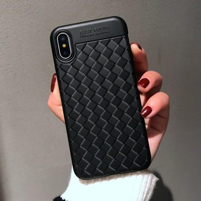 Husa iPhone X Weaving Pattern TPU  - negru 10
