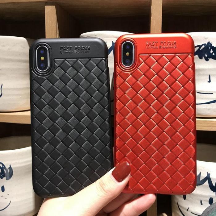 Husa iPhone X Weaving Pattern TPU  - negru 6