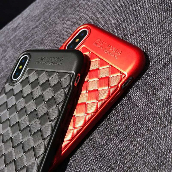 Husa iPhone X Weaving Pattern TPU  - negru 9