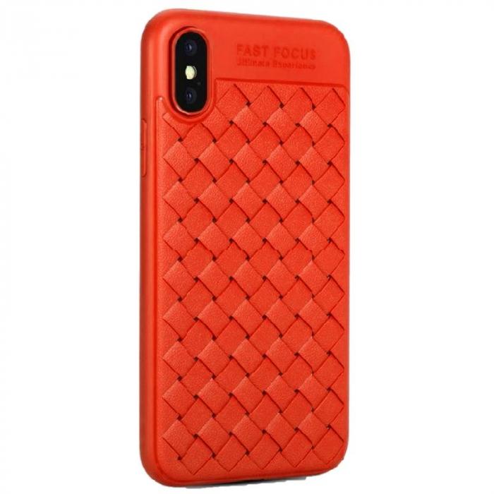 Husa iPhone X Weaving Pattern TPU  - rosu 0