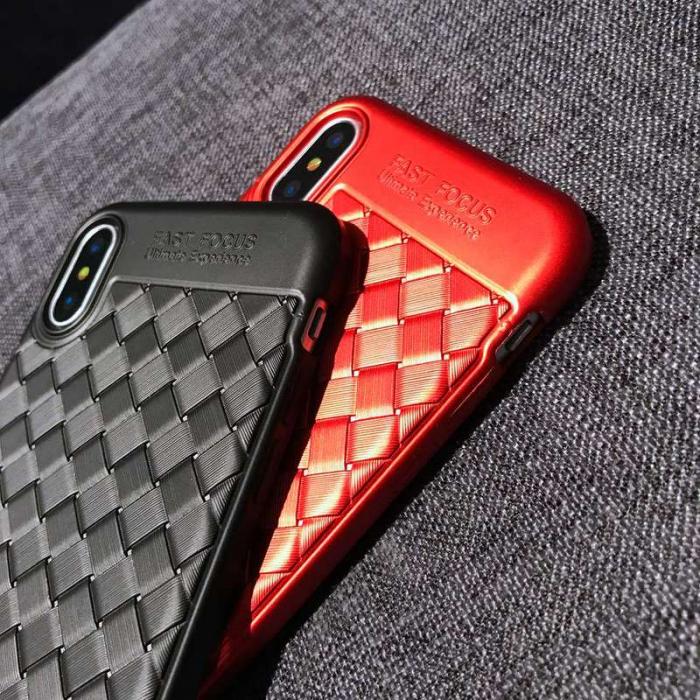 Husa iPhone X Weaving Pattern TPU  - rosu 8