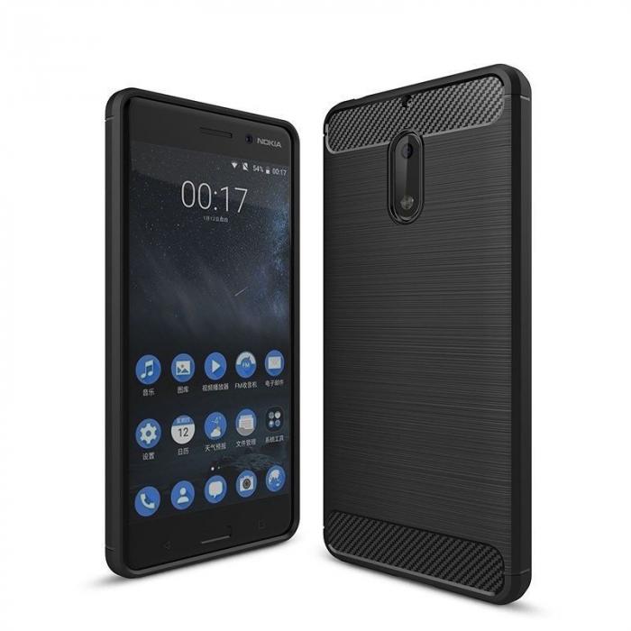 Husa Nokia 6 Carbon Fibre Brushed - negru 0