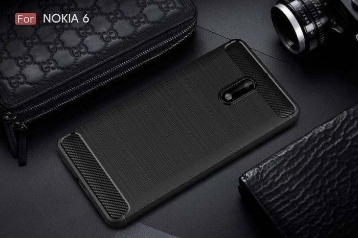 Husa Nokia 6 Carbon Fibre Brushed - negru 1