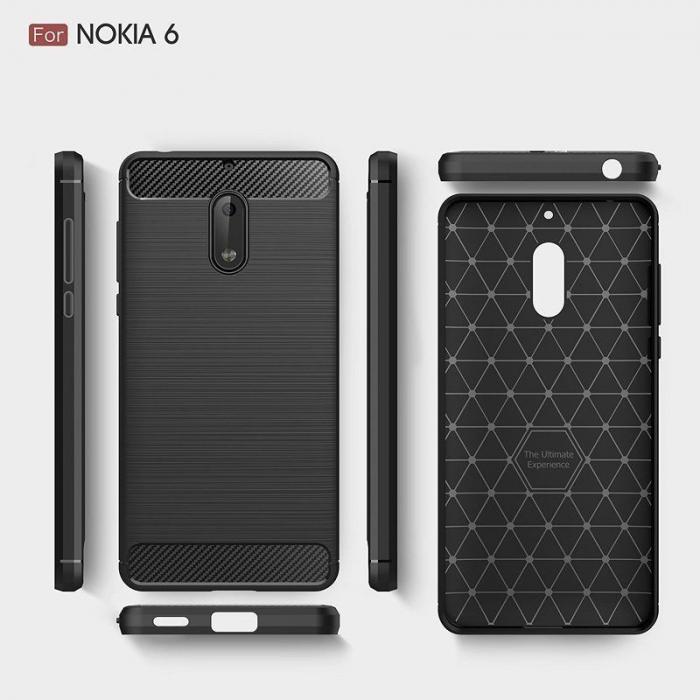Husa Nokia 6 Carbon Fibre Brushed - negru 2
