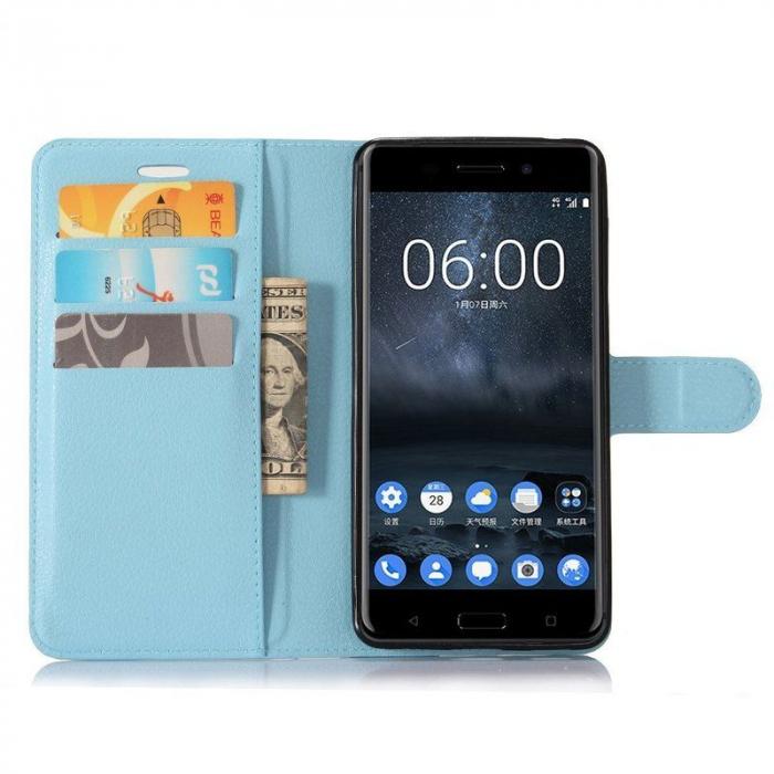 Husa Nokia 6 Crazy Horse Flip Book - albastru 3