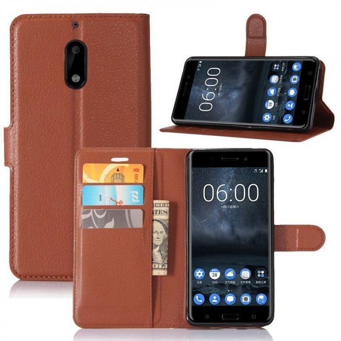Husa Nokia 6 Crazy Horse Flip Book - maro 4