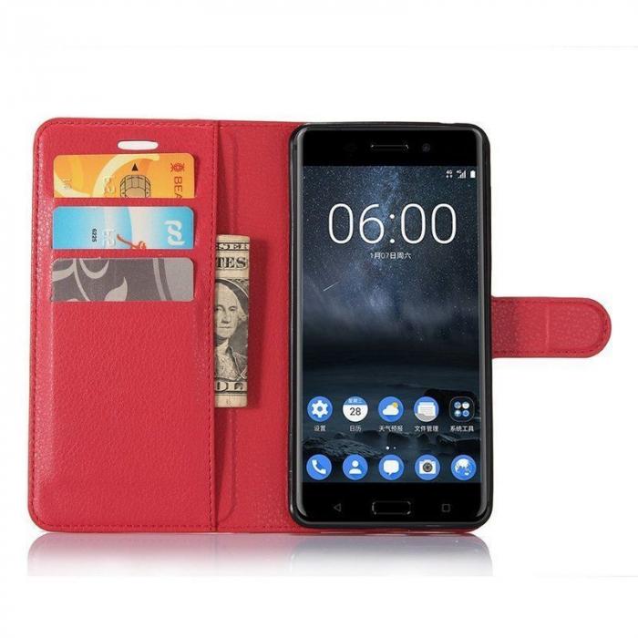 Husa Nokia 6 Crazy Horse Flip Book - rosu 3