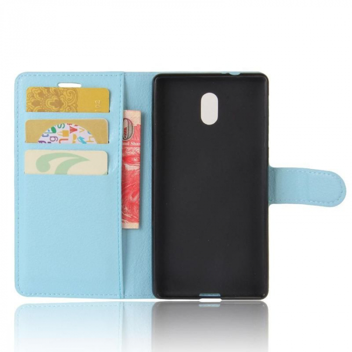 Husa   Nokia 3 Crazy Horse flip din piele eco - alb 2