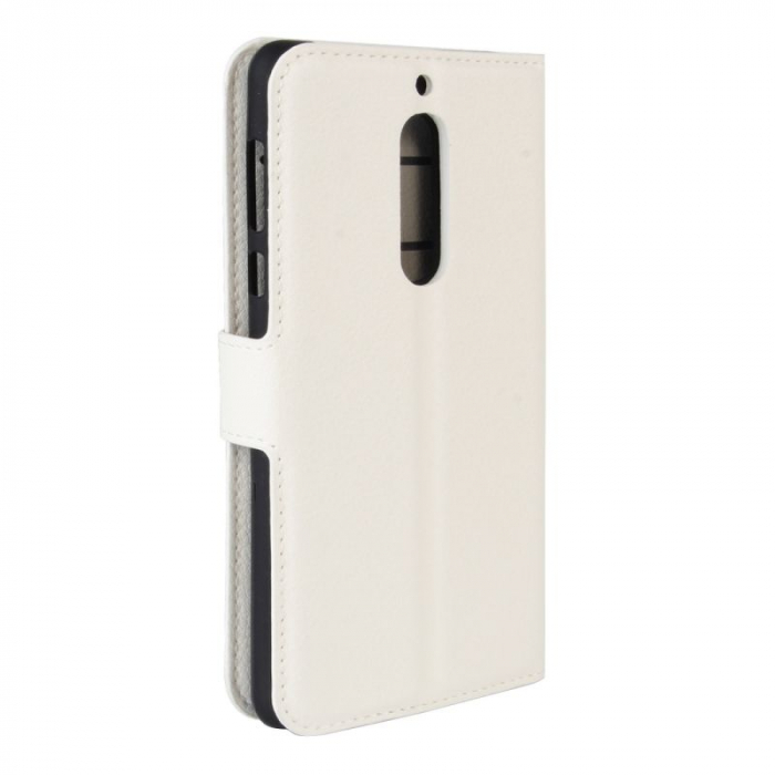 Husa Nokia 5  Crazy Horse flip din piele eco - alb 1