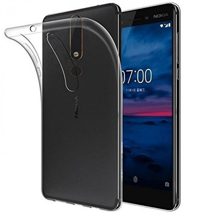 Husa   Nokia 6 (2018) / Nokia 6.1 Silicon TPU extra slim 0.5 mm - transparent 0