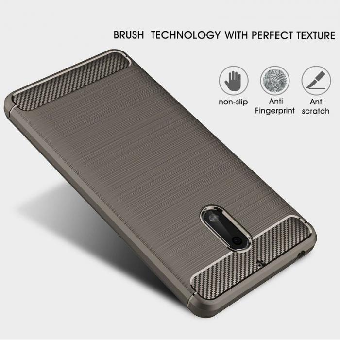 Husa Nokia 6 Carbon Fibre Brushed - gri 5