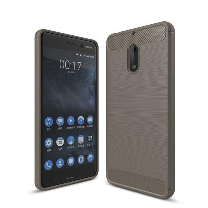 Husa Nokia 6 Carbon Fibre Brushed - gri 0