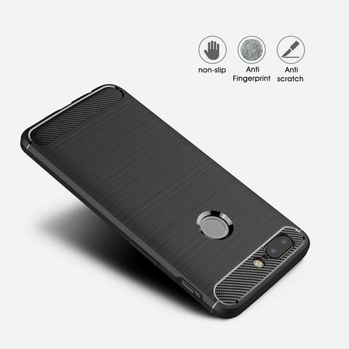 Husa OnePlus 5T - Tpu Carbon Brushed - gri 5