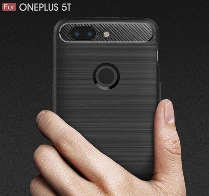 Husa OnePlus 5T - Tpu Carbon Brushed - gri 3