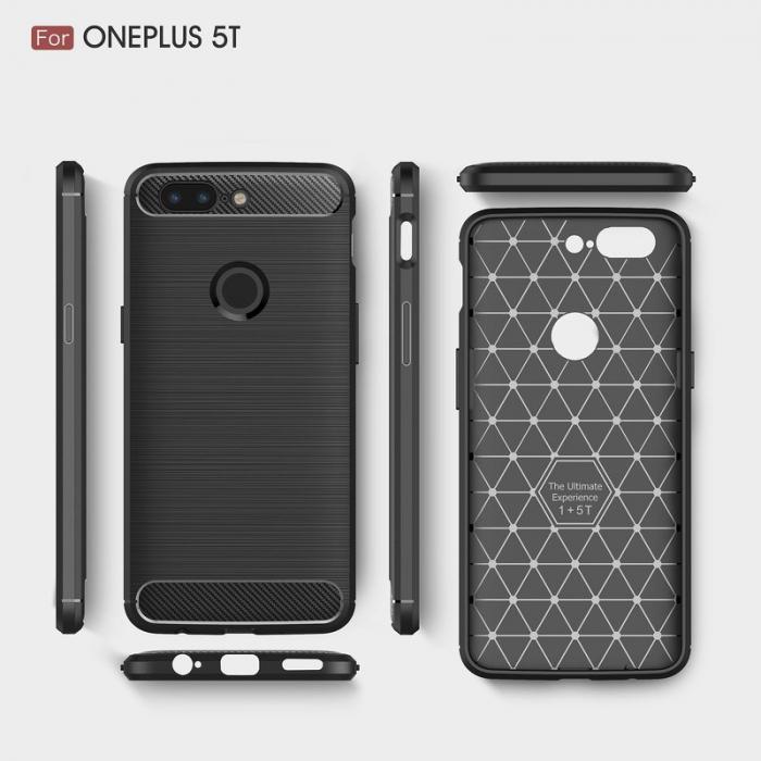 Husa OnePlus 5T - Tpu Carbon Brushed - gri 4