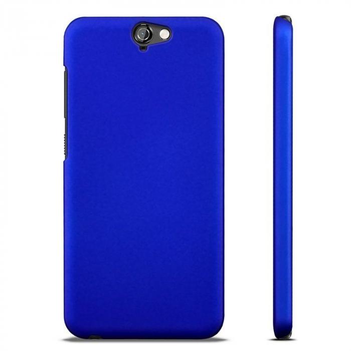 Husa HTC One A9 plastic cauciucat - albastru 2
