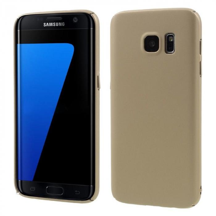 Husa plastic cauciucat Samsung Galaxy S7 - gold 0