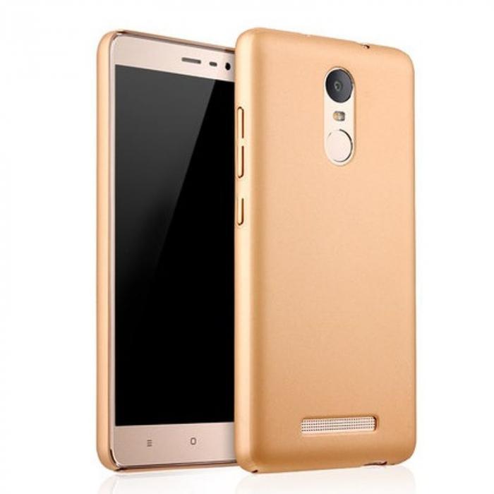 Husa plastic cauciucat Xiaomi Redmi Note 3 - gold 0