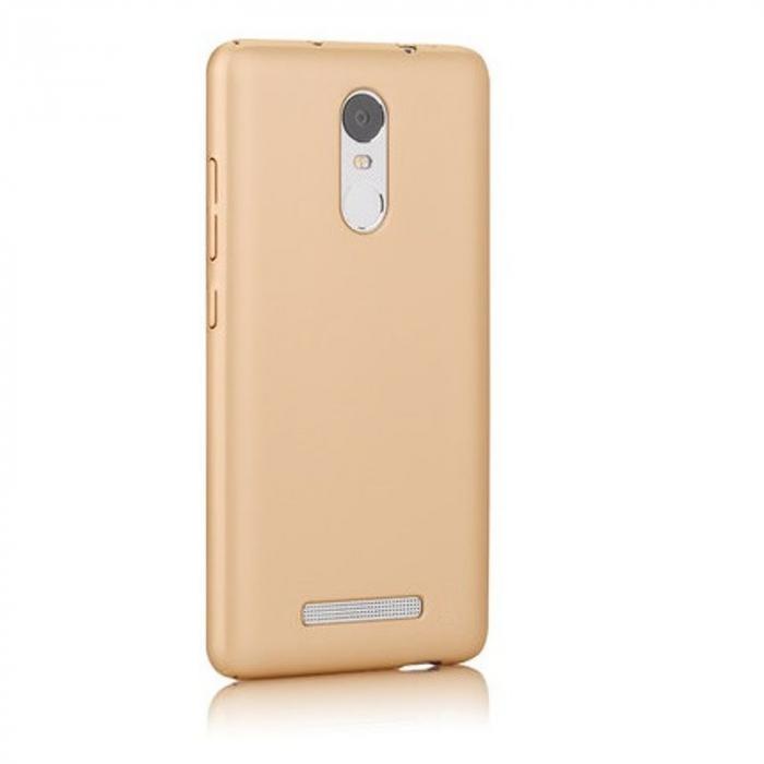 Husa plastic cauciucat Xiaomi Redmi Note 3 - gold 1