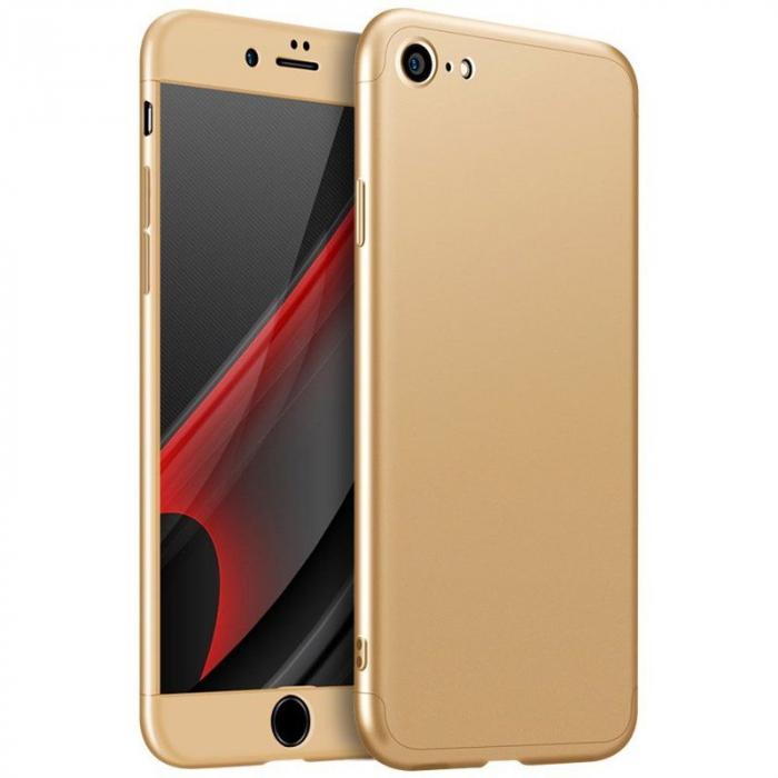 Husa   protectie 360 grade folie sticla inclusa iPhone 7 / iPhone 8 - gold 0