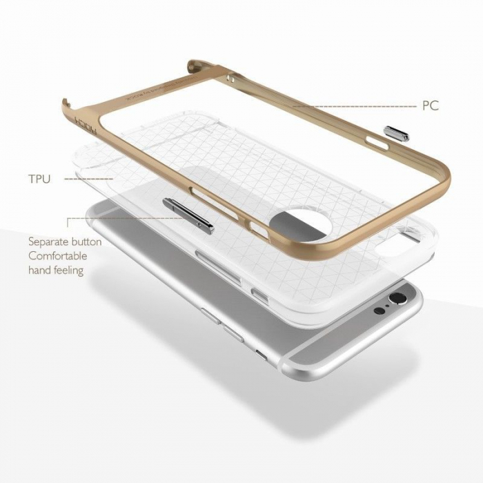 Husa iPhone 6 / iPhone 6s Rock Royce Ultra Slim Hybrid -   rosu / semitransparent 3