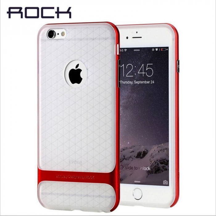 Husa iPhone 6 / iPhone 6s Rock Royce Ultra Slim Hybrid -   rosu / semitransparent 1