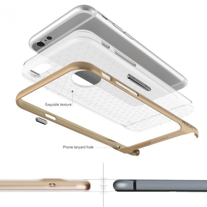 Husa iPhone 6 / iPhone 6s Rock Royce Ultra Slim Hybrid -   rosu / semitransparent 4