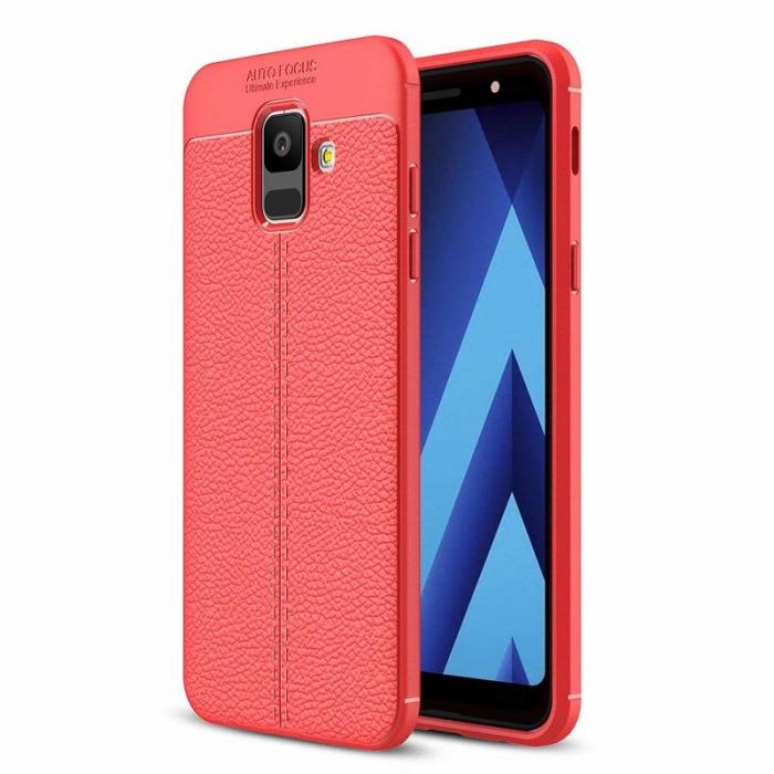 Husa  Samsung Galaxy A6 (2018) - Silicon Tpu Brused Grain - rosu 0