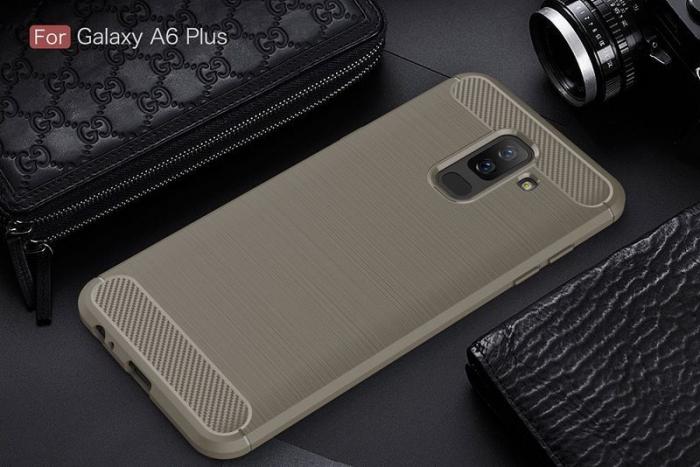 Husa Samsung  Galaxy A6 Plus (2018) - Tpu Carbon Fibre Brushed - gri 1