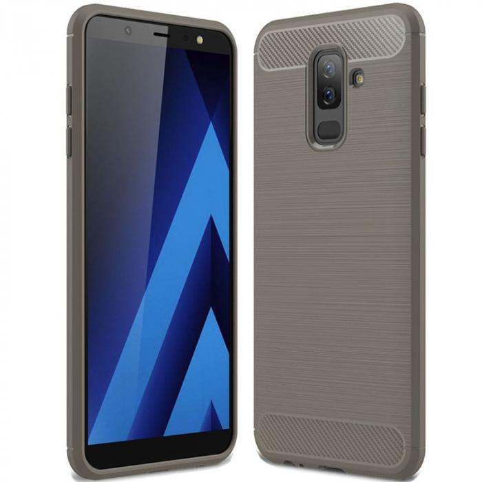 Husa Samsung  Galaxy A6 Plus (2018) - Tpu Carbon Fibre Brushed - gri 0