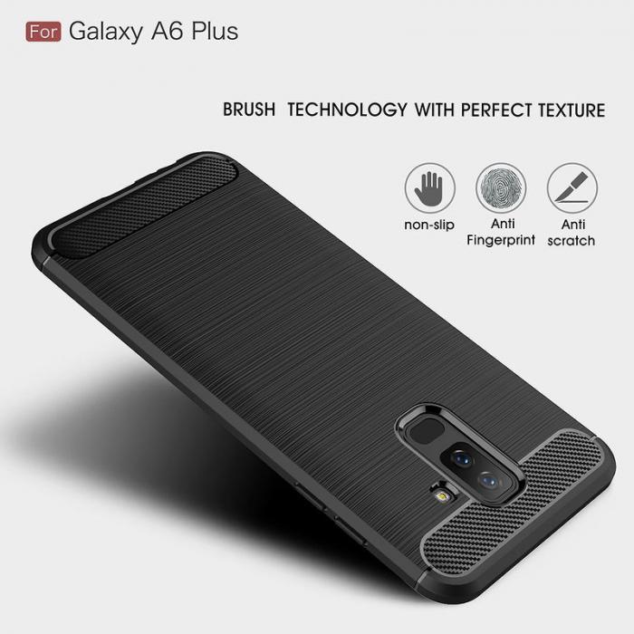 Husa Samsung  Galaxy A6 Plus (2018) - Tpu Carbon Fibre Brushed - gri 6