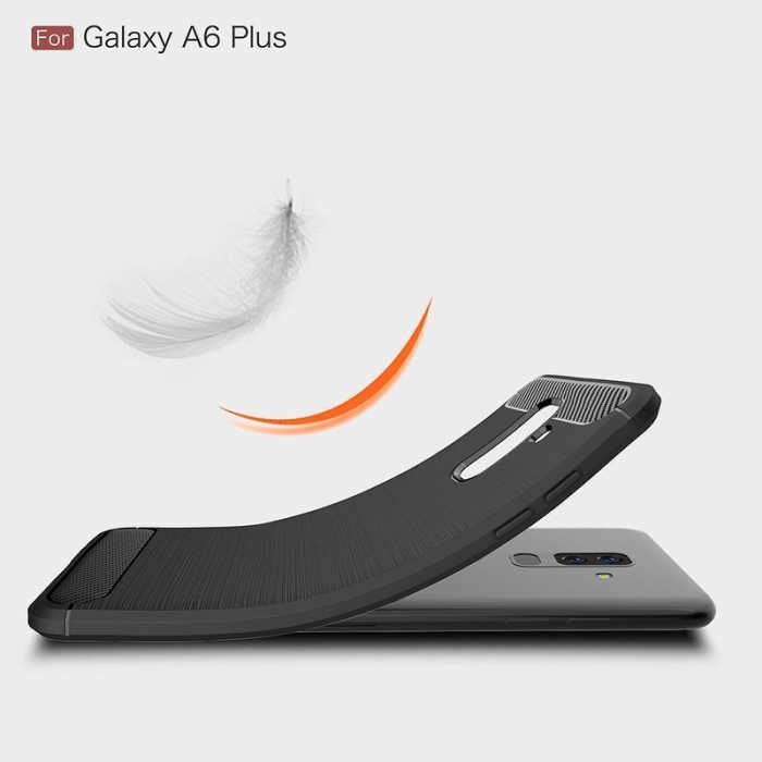 Husa Samsung  Galaxy A6 Plus (2018) - Tpu Carbon Fibre Brushed - gri 4