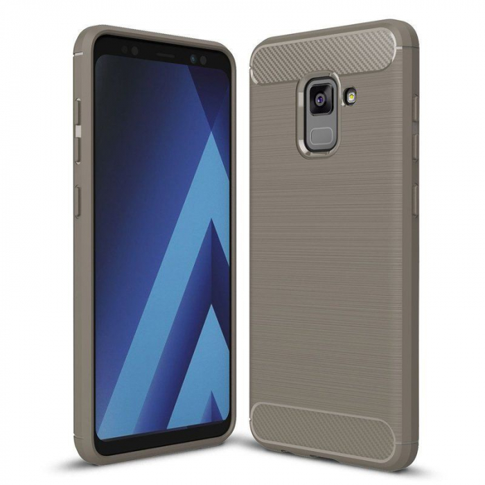 Husa Samsung  Galaxy A8 (2018) - Tpu Carbon Fibre Brushed - gri 0