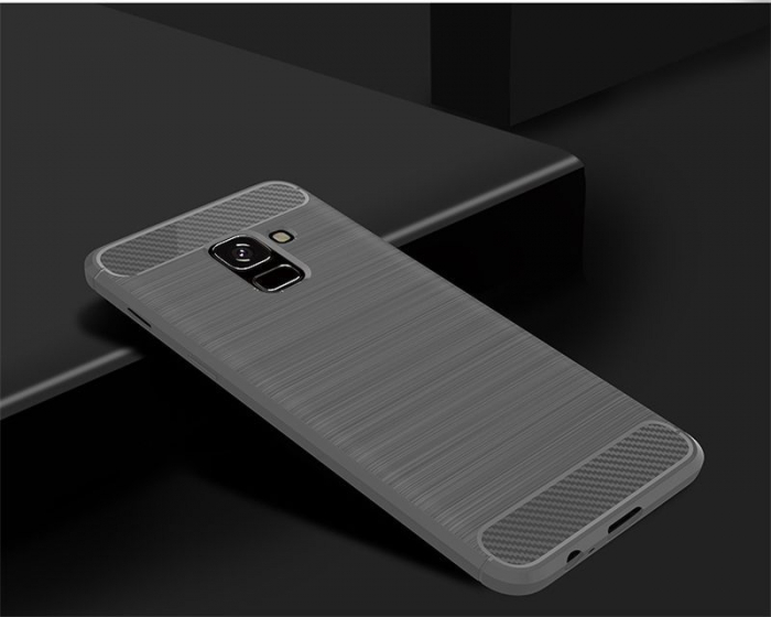 Husa Samsung  Galaxy A8 (2018) - Tpu Carbon Fibre Brushed - gri 2