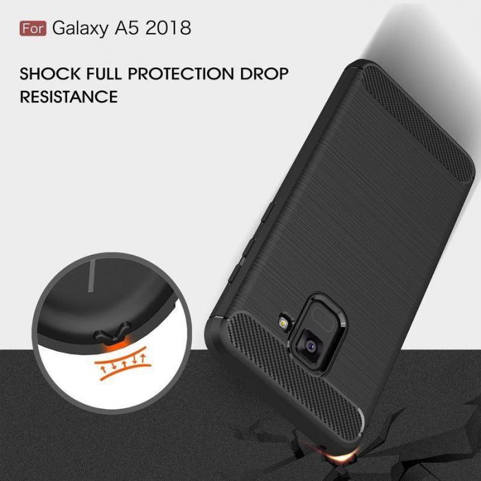 Husa Samsung  Galaxy A8 (2018) - Tpu Carbon Fibre Brushed - gri 5