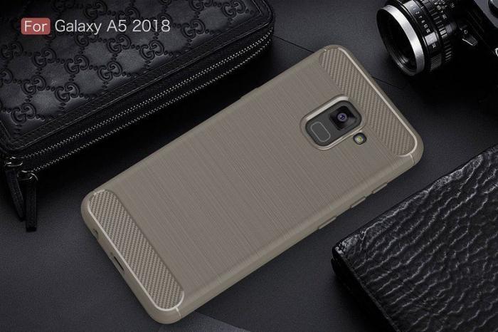 Husa Samsung  Galaxy A8 (2018) - Tpu Carbon Fibre Brushed - gri 1