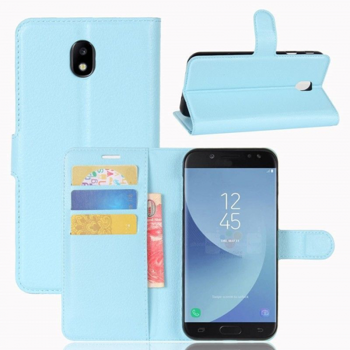 Husa Samsung Galaxy J5 2017 - Crazy Horse din piele eco - albastru 2