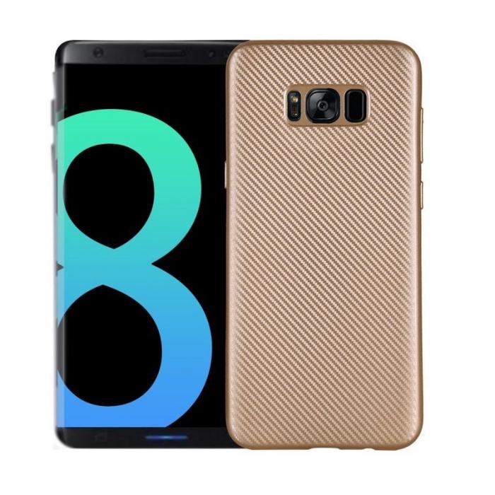 Husa Slim Tpu Carbon Samsung Galaxy S8 - auriu 0