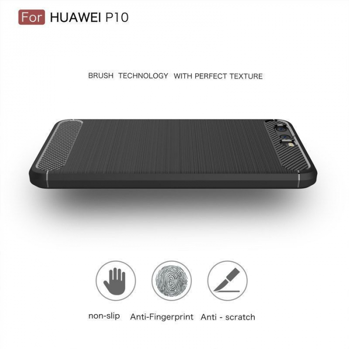 Husa  Huawei P10 Carbon Fibre Brushed - rosu 4