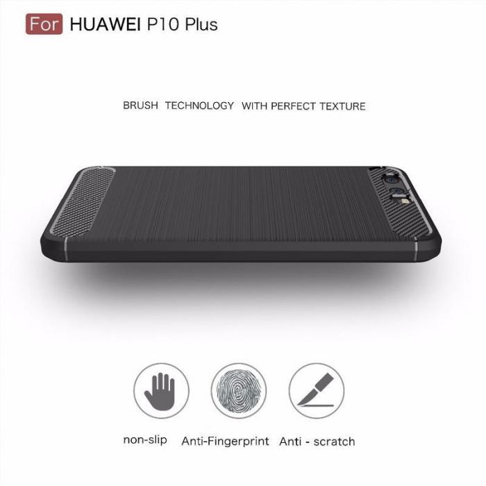 Husa  Huawei P10 Carbon Fibre Brushed - rosu 2