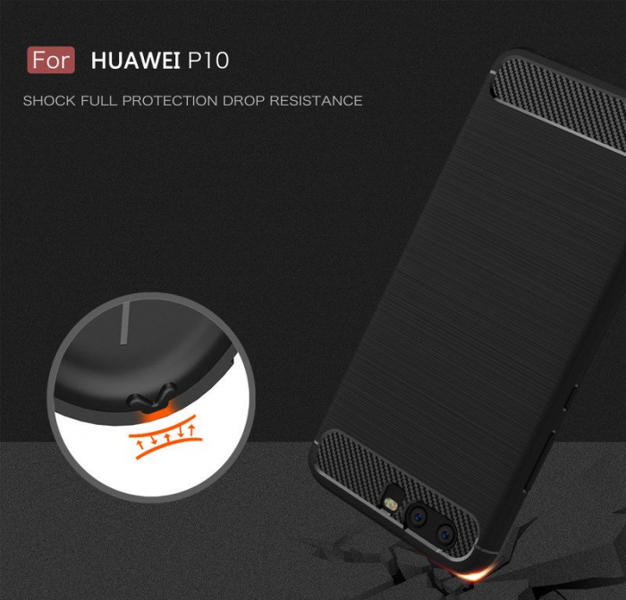 Husa  Huawei P10 Carbon Fibre Brushed - rosu 5