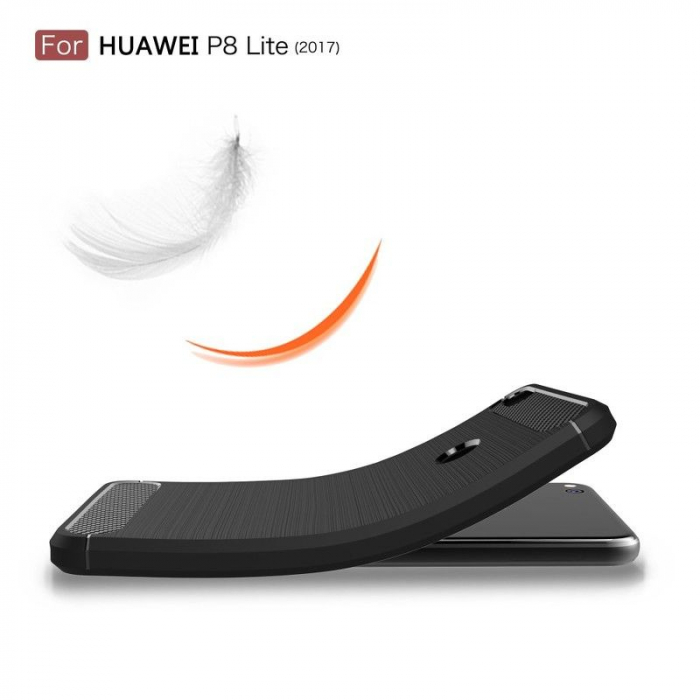 Husa  Huawei P9 lite (2017) / P8 Lite (2017) Tpu Carbon Fibre Brushed - rosu 7