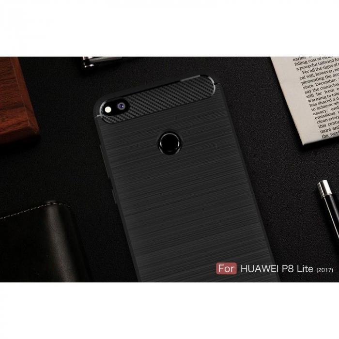 Husa  Huawei P9 lite (2017) / P8 Lite (2017) Tpu Carbon Fibre Brushed - rosu 9
